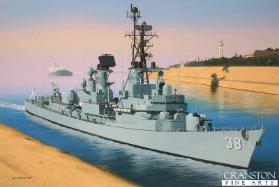 HMAS Perth at Suez by Ivan Berryman.