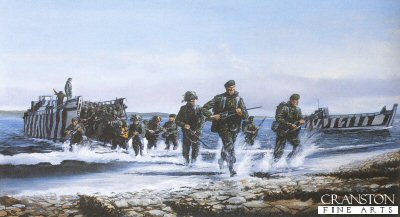 The Royal Marines Landing at San Carlos by David Rowlands.