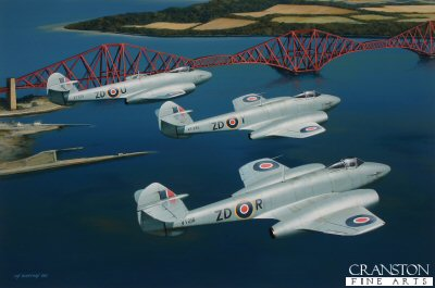 222 Sqn Meteors over the Forth Bridge by Ivan Berryman.