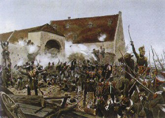 The Storming of La Haye Saint by Richard Knotel.