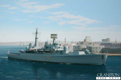 HMS Bristol departing Portsmouth by Ivan Berryman.