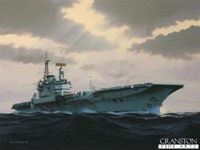 HMS Hermes - Under Leaden Skies by Ivan Berryman. (GS)