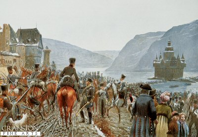The Crossing of the Prussian Army over the Rhine by Richard Knotel. (Y)