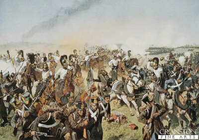 DHM638. The Prussian Pursuit of the French at the Battle of Hanau by Richard Knote <b><p> Open edition print. <p> Image size 17 inches x 12 inches (43cm x 31cm)