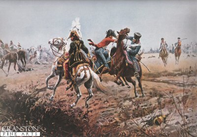 DHM639.  The Death of Lt. Guido von der Lippe During the Pursuit of Murat by Richard Knotel. <b><p>Open edition print. <p> Image size 17 inches x 12 inches (43cm x 31cm)