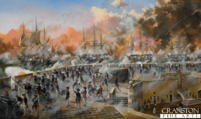 Siege of Gibraltar, The King's Bastion, 13th September 1782 by David Rowlands.