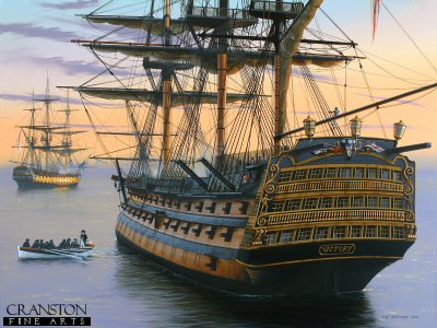 Becalmed - HMS Victory in the Doldrums by Ivan Berryman. (GS)