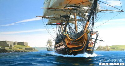 HMS Temeraire Departing Plymouth by Ivan Berryman. (GL)