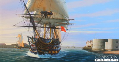 HMS Victory Departing Portsmouth by Ivan Berryman. (GL)