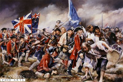 DHM668. Broadsword Charge on Brown Bess by Chris Collingwood. <p> Camerons and Stuarts attack the centre and flank of Barrells Regiment (4th Foot) at the Battle of Culloden. <b><p> Signed limited edition of 850 prints. <p> Image size 25 inches x 16.5 inches (64cm x 42cm)