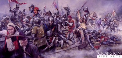 DHM706.  Battle of Barnet by Chris Collingwood. <p>The Battle of Barnet was fought in a heavy mist, on Easter Sunday 14th April 1471. Due to a misalignment of the opposing armies, all became confusion. The centre of the battle (as depicted here) was fought at close quarters, a mass of struggling knights and men at arms with comrade fighting comrade, their vision of the battle obscured by mist. The Yorkists under the leadership of King Edward IV triumphed, leaving the Lancastrians with hopes dashed. Their champion and leader, the great Richard Neville, Earl of Warwick The King Maker lay dead, cut down while struggling to regain his charger. In the painting Edward IV charges toward the banner of Henry Holland, Duke of Exeter, while in the foreground soldiers of the Houses of York and Lancaster hack and slash at each other in terrified butchery.<b><p>Signed limited edition of 1150 prints.  <p>Image size 34 inches x 15 inches (86cm x 38cm)