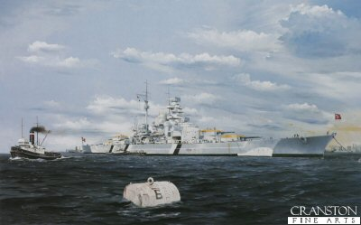 DHM0710B. Operation Rheinubung by Randall Wilson. <p>Bismarck anchored at No.5 buoy takes on main armament ammo in Gottenhaven, before sailing to Norway and the Atlantic.<b><p>Signed by Walter Weintz (deceased). <p> Walter Weintz signature edition of 50 prints from the signed limited edition of 1150 prints. <p> Image size 24 inches x 15 inches (61cm x 38cm)