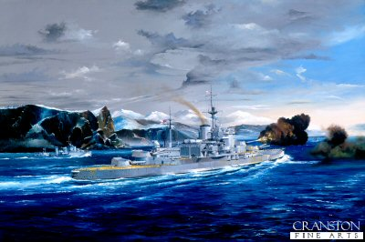 HMS Warspite, Shooting from the Hip by Randall Wilson.