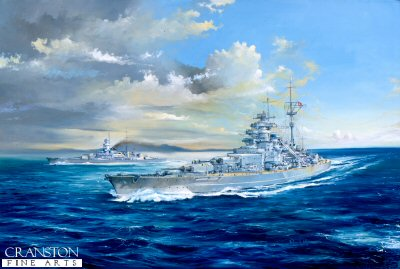 DHM729.  Breakout by Randall Wilson. <p> The Bismarck is seen taking the lead from the Prinz Eugen on the breakout from Bergen May 1941.<b><p> Signed limited edition of 1150 prints. <p> Image size 25 inches x 15 inches (64cm x 38cm)