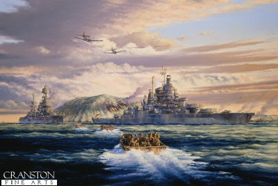 USS Tennessee During the Landings at Iwo Jima by Anthony Saunders.