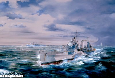 DHM734.  HMS Belfast During the Battle of North Cape by Randall Wilson. <p> Under lowering arctic skies HMS Belfast (Admiral Burnets Flagship) leads HMS Sheffield and HMS Norfolk in the race to protect convoy JW55B from Scharnhorst. <b><p> Signed limited edition of 1150 prints.  <p>Image size 25 inches x 15 inches (64cm x 38cm)