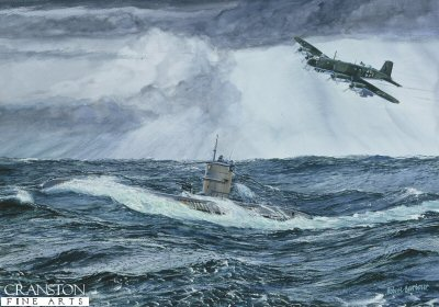 DHM765.  Atlantic Rendezvous by Robert Barbour. <p> A U-boat wallows on the surface in typical Atlantic winter weather in February, 1944.  approaching at low level is a Luftwaffe FW 200 C-8 Condor of 111KG 40 from the base at Bordeaux-Marignac in S.W. France. <b><p>  Signed limited edition of 1250 prints.   <p> Image size 17 inches x 12 inches (43cm x 31cm)