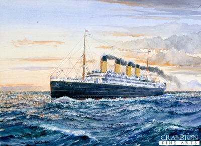 DHM769.  Titanic by Robert Barbour. <p>Depicting Titanic with the sun going down for the last time. <b><p> Signed limited edition of 1150 prints. <p> Image size 17 inches x 12 inches (43cm x 31cm)