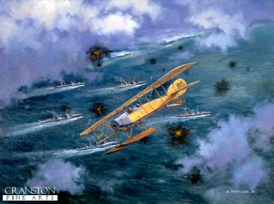 DHM779. Christmas Surprise by David Pentland <p> Historic RNAS bombing raid on the German Zepperlin base at Cuxhaven, on Christmas day 1914. <b><p>  Signed limited edition of 1150 prints.  <p>Image size 17 inches x 13 inches (43cm x 33cm)