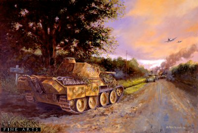 DHM792. Barkmanns Corner by David Pentland. <p> Ernst Barkmanns (Das Reich, 2nd SS Panzer Division) famous day long solo engagement against an American Armoured breakthrough towards St. Lo, Normandy, 26th July 1944. <b><p> Signed limited edition of 1000 prints.  <p>Image size 25 inches x 16.5 inches (64cm x 42cm)
