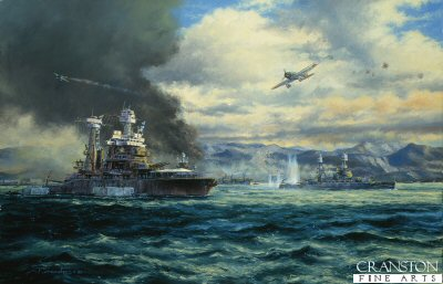 DHM814.  Pearl Harbor, USS California, by Anthony Saunders. <p>At dawn on the 7th December 1941, 350 Japanese warplanes flew from their carriers and attacked the US pacific fleet at Pearl harbor, on the Hawaiian island of Oahu. the attack concentrated on Battleship Row which included USS California (Left) and USS Nevada (Right) which was the only battleship to get underway during the attack. However coming under intense bomb attack she was later beached. For the Japanese the success was not total, as the US carrier fleet was out on manoeuvres on the day of the attack.<b><p>Signed limited edition of 1100 prints.  <p>Image size 25 inches x 15 inches (64cm x 38cm)