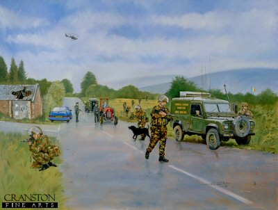 DHM847.  VCP, Northern Ireland by John Wynne Hopkins. <p>A vehicle checkpoint set up by the British army in co-operation with the RUC while operating in Northern Ireland. <b><p> Signed limited edition of 1150 prints. <p> Image size 25 inches x 16 inches (64cm x 41cm)