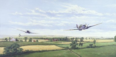 DHM871. Ranger by Graeme Lothian. <p> Before D-Day allied fighters ranged far and wide across the North of Europe. <b><p> Signed by Commander Johnnie Johnson (deceased). <p> Limited edition of 1000 prints. <p> Image size 23 inches x 11 inches (59cm x 28cm)