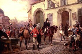 DHM878.  Wellington at the Inn of Waterloo by Robert Hillingford. <b><p>Open edition print. <p> Image size 25 inches x 15 inches (64cm x 38cm)