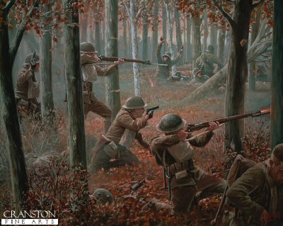 DHM880AP. The Courageous Twelve (Meuse Argonne Offensive, 26th September 1918) by Mark Churms (AP) <p> The Yanks are coming over there and on the offensive! American Doughboys from a dozen states valiantly press through the tangle of forest, overrunning German resistance as they advance, troops from Colorado, Kansas, Massachusetts, Montana, Michigan, New Jersey, Ohio, Oregan, Pennsylvania, Washington, Wyoming and Virginia. <b><p> Limited edition of 50 artist proofs. <p> Image size 25 inches x 17 inches (64cm 43cm)