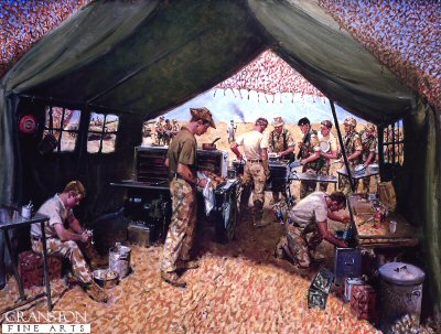 DHM884. Sustaining Forward by Terence Cuneo. <p> Depicting a field kitchen located on the Suadi Iraq border, serving meals to the troops of the 7th Armoured Brigade (The Desert Rats) before they moved to their pre-attack positions. Catering Corps, Gulf War.<b><p> Open edition print. <p> Image size 25 inches x 16.5 inches (64cm x 42cm)