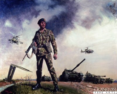 DHM886.  The Price of Freedom by Terence Cuneo. <p>The painting represents the embodiment of the entire British Army.<b><p>Open edition print. <p> Image size 25 inches x 15 inches (64cm x 38cm)
