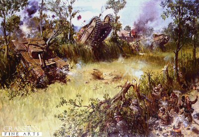 DHM887. Scots Guards Fighting Through the Bocage by Terence Cuneo. <p> Action of the right flank, 3rd Battalion Scots Guards during the advance from Caumont to Les Loges, Normandy, 30th July 1944. Commanding the Churchill tank, Lochinvar is Lt Robert Runcie later to become Archbishop of Canterbury. <b><p>Resricted print run of 1000 prints. <p> Image size 25 inches x 16.5 inches (64cm x 42cm)