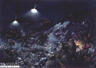 DHM892.  Battle of Tumbledown Mountain by Terence Cuneo. <p>On the 14th June 1982 the 2nd battalion Scots Guards captured one of the most strongly defended Argentine positions of the Falklands campaign, their losses were 9 killed and 43 wounded. <b><p> Open edition print. <p> Image size 23 inches x 14 inches (58cm x 36cm)