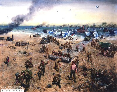 DHM895. Sword Beach by Terence Cuneo. <p> Pioneers were among the first British troops to land on the beaches of Normandy on D-Day, by 1st August 1944 there were over 35,500 pioneers in Normandy. The painting shows the various activities of the pioneers during the D-Day landings. <b><p> Open edition print.  <p>Image size 25 inches x 16.5 inches (64cm x 42cm)