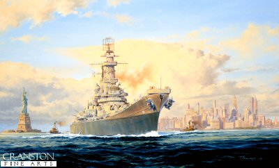 USS Iowa leaving New York by Anthony Saunders.