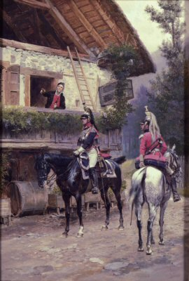 French Cuirassiers Questioning a peasant outside a country farmhouse by Edouard Detaille.