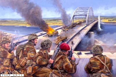 DHM957. Graebners Attack, Arnhem Bridge, 18th September 1944 by David Pentland <p> German Armoured Reconnaissance troops led by SS Captain Viktor Graebner, of the 9th SS Panzer Division, are decimated and repulsed by the men of Colonel Frosts 2PARA, as they attempt to retake the bridge by a coup-de-main. <b><p>Signed limited edition of 1150 prints.  <p>Image size 25 inches x 16.5 inches (64cm x 42cm)