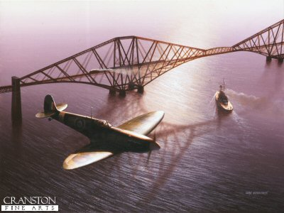 DHM965.  Land, Sea and Air by Ivan Berryman. <p> Spitfire of 761 Training Squadron (attached to the Royal Navy) flies over the Forth Railway Bridge on the eve of World War Two, also shown is HMS Royal Oak departing Rosyth for the open sea. <b><p> Signed limited edition of 1150 prints. <p> Image size 25 inches x 15 inches (64cm x 38cm)