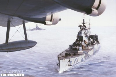 P984. HMS Renown by Ivan Berryman. <p>HMS Renown viewed from a passing Sunderland Flying Boat.<b><p>Postcard<p> Postcard size 6 inches x 4 inches (15cm x 10cm)
