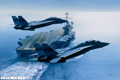 DHM985.  USS Ranger by Ivan Berryman. <p> Two F14 Tomcats of VF-1 pass in close formation over the stern of the veteran USS Ranger (CV-61) <b><p> Signed limited edition of 1150 prints. <p> Image size 25 inches x 15 inches (64cm x 38cm)