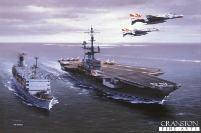 DHM987.  USS Coral Sea by Ivan Berryman. <p> USS Coral Sea (CV-43 being replenished by fast combat support ship USS Seattle (DE-3) as two of the carriers compliment of F.4s of VF-111 The Sundowners makes a low pass. <b><p> Signed limited edition of 1150 prints. <p> Image size 25 inches x 15 inches (64cm x 38cm)