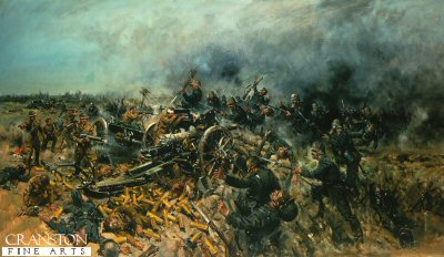 DHM991. Last Stand of the 5th (Gibraltar) Battery by Terence Cuneo. <p>  26-27th May 1918, 5th Batterys gun position was overrun by German Infantry, the Battery Commander and two subalterns rallied the surviving men and with Lewis gun and rifles attempted to beat off the attack. Only four gunners survived. <b><p> Open edition print.  <p>Image size 25 inches x 16.5 inches (64cm x 42cm)
