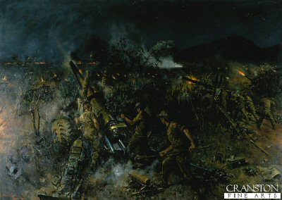 DHM992. The Battle of Monte Cassino by Terence Cuneo. <p> Depicting the 8th Army artillery firing on the last Battle of Cassino, 600 guns destroyed the remaining German defences. <b><p> Open edition print.  <p>Image size 25 inches x 16.5 inches (64cm x 42cm)