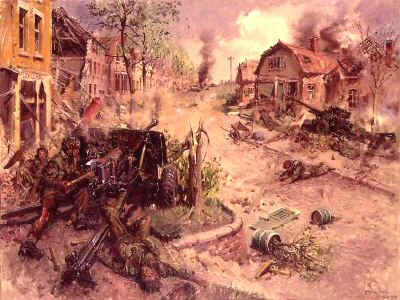 DHM994. Lance Sergeant J D Baskeyfield VC by Terence Cuneo. <p> During the Battle at Arnhem, Lance Sgt. Baskeyfield (2nd Bt. South Staffordshire Reg.) with all his crew dead or wounded, he continued to man the the 6-pounder alone, until it was put out of action, he then crawled (with a shattered leg) to another undamaged 6-pounder and fired two shots knocking out an advancing self-propelled gun, seconds later he was killed. He was awarded, posthumously, the Victoria Cross. <b><p> Open edition print. <p>Image size 25 inches x 16.5 inches (64cm x 42cm)
