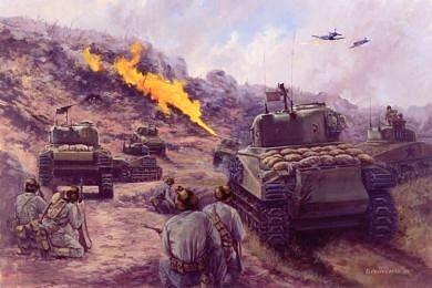 Taking of Big Apple, Okinawa, 10th - 14th June 1945 by David Pentland. (GS)