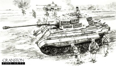 DP0112. Breaking the Gran Bridgehead by David Pentland. <p> Hungary, 18th February 1945.  The Soviet bridgehead across the lower river Gran threatened the important oilfields at Komorn. To deal with it, Heavy tank battalion 503 was attached to the elite Hoch und Deutschmeister Division. Then in conjunction with the 12th SS Hitlerjugend Division to the north the operation was launched and the bridgehead successfully crushed. <b><p> Signed by Oberstleutnant Alfred Rubbel. <p>Signed limited edition of 30 prints.  <p> Image size 12 inches x 9 inches (31cm x 23cm)