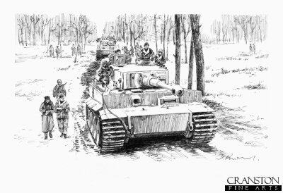DP0114. Advance to the Start Line,   Narva Bridgehead ,  Northern  Russia  ,  6th April 1944 by David Pentland. <p> Tiger I tanks of Albert Kersher and Otto Carius, of 2nd Company Heavy tank Battalion 502, take part in the third operation designed and led by Graf von Strachwitz (Grossdeutschland Division) to destroy the final units of the dangerous Soviet bridgehead across the Narva river. <b><p>Signed by Sturmann Karl-Heinz Decker.<p>Signed limited edition of 30 prints.  <p> Image size 12 inches x 9 inches (31cm x 23cm)