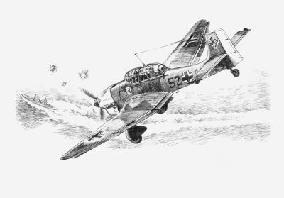 DP0130. The Stukas Prey, Crete, May 1941 by David Pentland. <p> Junker Ju87B-2 flown by Hauptmann Helmut Bruck. Stab I, Stg 77 targets a Royal navy ship during the Battle for Crete. <b><p>Signed limited edition of 35 prints.  <p> Image size 12 inches x 9 inches (31cm x 23cm)