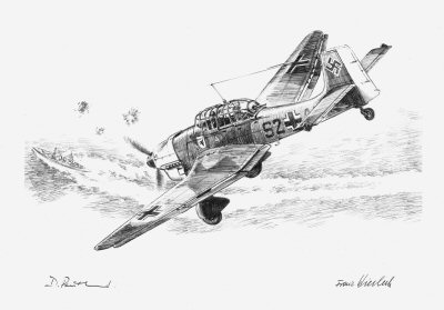 The Stukas Prey, Crete, May 1941 by David Pentland. (P)
