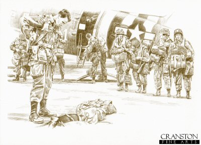 DP0205AP. Chuting Up by David Pentland. <p> England, 5th June 1944.  U.S. Paratroops of the 82nd <i>All American</i> Airborne Division, preparing for their imminent assault on France. <b><p>Limited edition of 20 artist proofs.  <p> Image size 12 inches x 8 inches (31cm x 21cm)